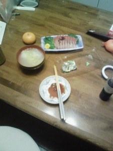 雑煮と刺身とビール